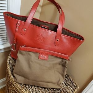 Ralph Lauren red tote bag with pouch
